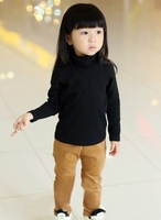 Free shipping,1pieces/lot,2013 autumn and winter solid color boys girls clothing child turtleneck long-sleeve T-shirt,2-8year.