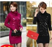 2013 women's black turtleneck sweater female medium-long women's turtleneck sweater basic shirt female plus velvet thickening
