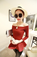 2013 autumn women's sexy beautiful skirt long-sleeve t slit neckline cotton top