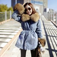 Free shipping 2013 new brand women's large fur collar denim berber fleece outerwear winter  wadded jacket cotton-padded overcoat