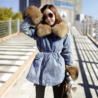 Free shipping 2013 new brand women's large fur collar denim berber fleece outerwear winter  wadded jacket cotton-padded overcoat