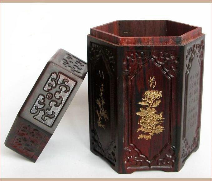 """5.1 """" sândalo vermelho chá de madeira vasilha chinês Escultura Madeira Home Office Use(China (Mainland))"""