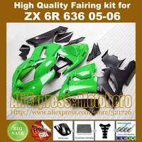 Green black fairings for KAWASAKI Ninja ZX6R 636 05-06 ZX-6R 2005-2006 6R 05 06 ZX 6R ZX636 2005 2006 fairing kit + 7gifts PXU77