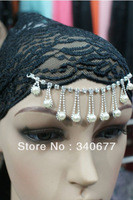 Hot Sales 5Pcs/Lot New Style Lace Islamic Headwear,Arabic Fashion Underscarfs,Muslim Inner Hat,with Bradde Chain Free Shipping