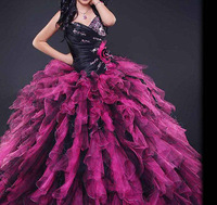 Elegant Sweetheart Organza Ruffle Ball Gown Quinceanera Dress High Quality Prom Gown Free Shipping