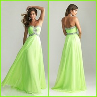 New Arrival 2014 Sexy Beaded Sweetheart Lime Green Chiffon Long Prom Evening Dresses Vestidos Formales Gowns