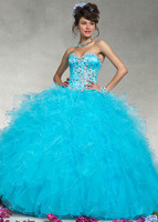 High Quality New Blue Beaded Sweetheart Organza Quinceanera Dresses Pageant Prom Formal Ball Gown Custom Size