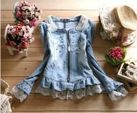 Free shipping Women Denim Jackets princess Outwear Jeans Coats Diamonds + Pearls + Lace