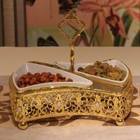 Silveriness senior metal mandarin duck guodie cake pan fruit plate fruit rack decoration party supplies props