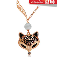 Cutout hyraxes decorative pattern crystal sweater necklace female long design fashion all-match