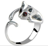 Fashion rings Women and men jewelry Cat ring Silver ring  Free shipping