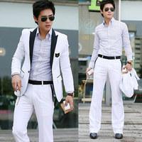New 2014 Men Slime Fit White Blazer Jacket One Button Gentleman Design Korean Free Shipping