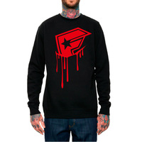 Famous logo drop male pullover sweatshirt hiphop fashion o-neck long-sleeve street punk