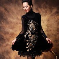 Hot Sale ! Fashion Mother Spring And Autumn New Arrival Big Size Crimp Big Swing Embroidery Vest Dresses S-M-L-XL-XXL-3XL-4XL
