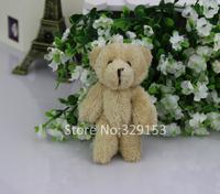Wholesale H-8cm brown  long wool Plush Joint Bear For Phone/wedding Stuffed Dolls Teddy Bear 50pcs/lot