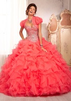2014 New Style Quinceanera Dresses88089 All Over Beaded Bodice on a Ruffled Organza Skirt Matching bolero jacket & Custom-made