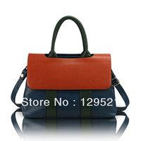2014 winter preppy style color block bag women leather handbag shoulder bag high quality tote for messenger bag bolsas femininas