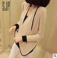 1080 all-match fashion long-sleeve pad shoulder width short design short jacket color block small lap