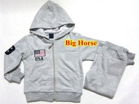 Children's USA Flag polo Tracksuits with Big Horse Fashion Winter Kids Tracksuit Casual Sports Jackets Hoodies Drop Shipping