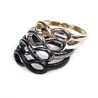 Fashion jewelry Infinity symbol finger ring mix color free shipping 20 Pcs/lot