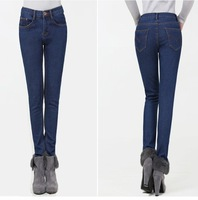 2013 New hot fashion big yards jeans leisure wild Ladies women clothes Plus new winter thick velvet jeans