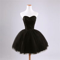 Aesthetic dinner party dress short design evening dress lace beading black  little black dress hanging