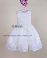 Latest princess party dress girls Stereo flowers Beaded tulle tutu vest dress baby kid beige wedding dress Pageant dress EMS2249