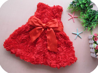 free shipping branded red color baby dresses formal dress for party or wedding full of flowers babywear