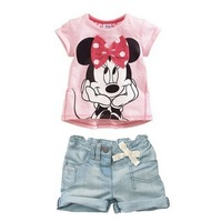 Free shipping! 5set/lot Cute girls pink Minnie short-sleeved T-shirt + jeans leisure suits 2set 2T/3T/4T/5T/6T
