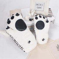 White Unisex Womens Mens Warm Winter Plush Mittens Gloves Tiger Strips paw 2 Sizes