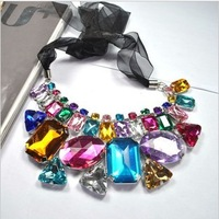 Free Shipping!2013 Brand Exaggerated Resin Colored Irregular Big Stone Choker Necklace Silk Ribbon