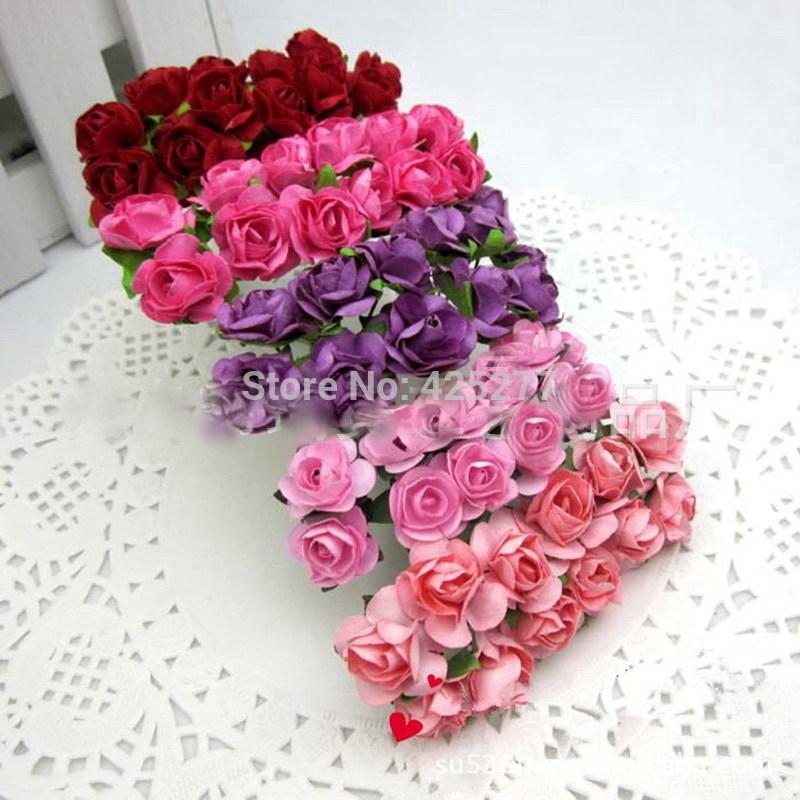 O envio gratuito de 60 pçs/lote misturar Mulberry Paper Flower Bouquet / fio tronco / Scrapbooking rosa artificial flores 004009(China (Mainland))