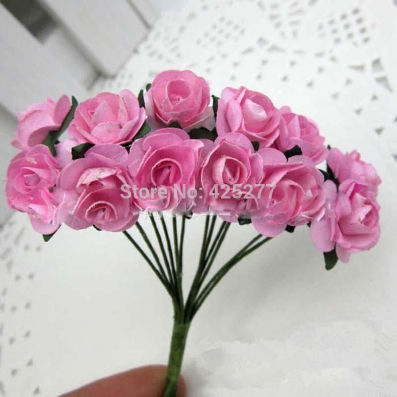 Flores 144PCS Frete grátis / LOT misturar Mulberry Paper Bouquet Flor / fio haste / Scrapbooking rosa rosa artificial 004009001(China (Mainland))