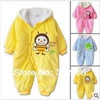 Free shipping wholesale Autumn and winter baby clothes baby clothing coral fleece animal style clothing romper baby bodysuit
