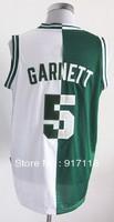 Free Shipping,#5 Kevin Garnett Basketball Jersey,Top quality 2013 men's split sports Jersey,Embroidery logos,Size 44-56