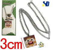 wholesale fashion 10 pcs brown Cell minecraft JJ metal pendant chain necklace 3cm Cell Phone Strap  Minions Figure Keychain #C92