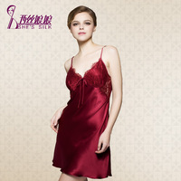 Mulberry silk sleepwear female sexy spaghetti strap nightgown lounge spring and summer