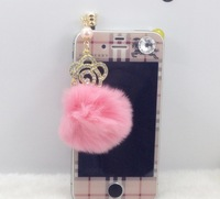 5pcs/lot Universal 3.5mm crystal flower & Rabbit fur ball pendant dustproof Earphone Jack Plug for iPhone/cellphone #1