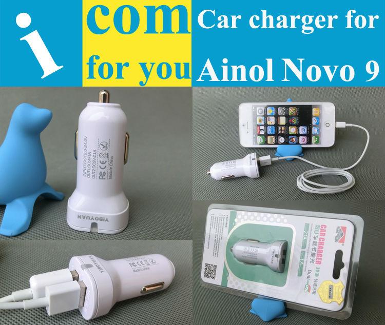 5V 2.1A+1A Dual USB Car Charger for Ainol NOVO 9 Firewire Spark/Novo 7 venus Myth/Eos 3G/AX1/Rainbow Tablet pc High quality(China (Mainland))