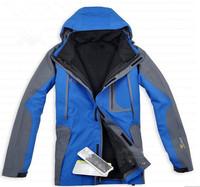 2014 Winter New 2in1 Two-piece Fashion Men's Climbing Sport Coat Outdoor Waterproof Windproof Ski Suit Jacket Free Shipping