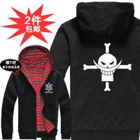 Free shipping One piece   Bat sleeve hoodie sweater  luffy   Coat of fleece  Both sides to wear Trafalgar Law  Edward Newgate