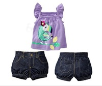 Free shipping!! (Retail) girl suit cute Girls vest fly sleeve T + denim shorts 2pcs sets Summer wear