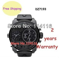 New Black Chronograph Analog Digital Multi Function Leather Men Watch DZ7193 7193 + Original Box