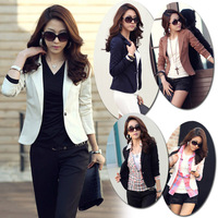 Free Shipping Fashion Womens OL Lapel One Button Slim Short Suit Blazer OL Jackets Coat Outerwear Long Sleeve  # L0341350