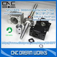 1605 BallScrew set RM1605-300mm BallScrew with End Supports bk12 bf12 + 1605 Nut housing + 6.35x10mm Coupling coupler Z0402