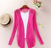 6544  fashion Sweaters  women fashion Candy Long Size Summer Lace Cardigan Sweater Coat for women 1 piece XHCX