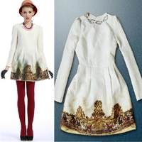 Miuco 2013 women's fashion high quality women's print one-piece dress