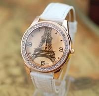 New Fashion 8 Colors Paris Eiffel Tower Ladies Bracelet Leather Women Rhinestone Watches Women Dress Wristwatch Dropshipping
