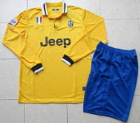 13/14 Juventus Away Yellow Adult Size Long Sleeve Soccer Jersey Kit Football Uniform Shirt & Shorts W/ Brand Logo Free Ship