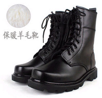 Winter cotton boots sheep wool liner high-leg boots genuine leather male boots